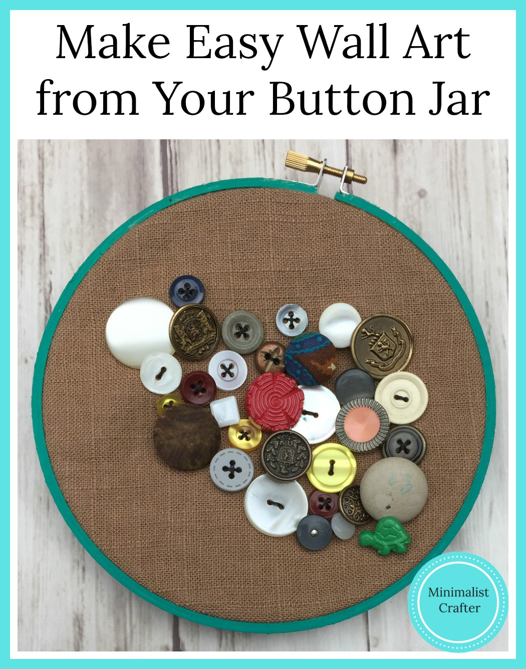 Get your button collection out of the jar and into this cute wall art idea.